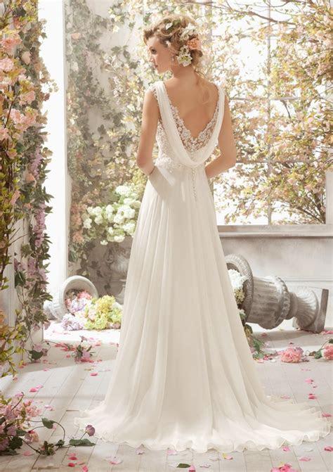 alencon lace wedding dresson delicate chiffon style