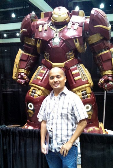 Posing with a Hulkbuster replica at Stan Lee's Comikaze Expo in downtown Los Angeles, on October 31, 2015.