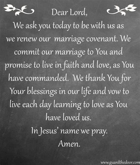 Marriage Covenant prayer. Perfect for your refrigerator