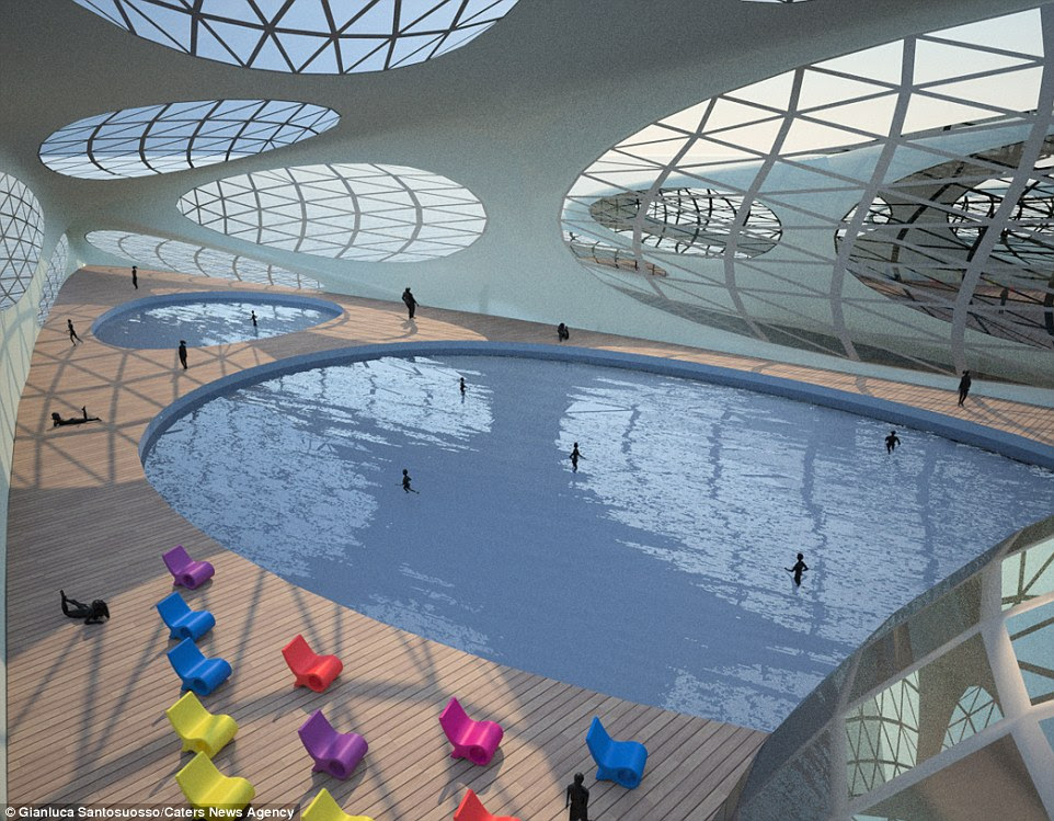 Designed by 32-year-old Gianluca Santosuosso, from London, the plans include space for a swimming pool, restaurants and a garden