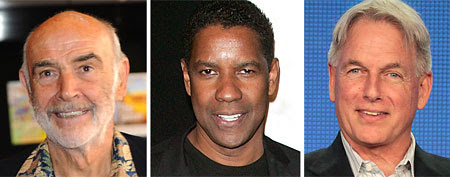 L-R: Sir Sean Connery on June 20, 2010 in Edinburgh, Scotland. (Ian Jacobs/WireImage) Actor Denzel Washington on February 7, 2012 in New York City. (Jim Spellman/WireImage) Actor Mark Harmon on January 11, 2012 in Pasadena, California. (Frederick M. Brown/Getty Images)