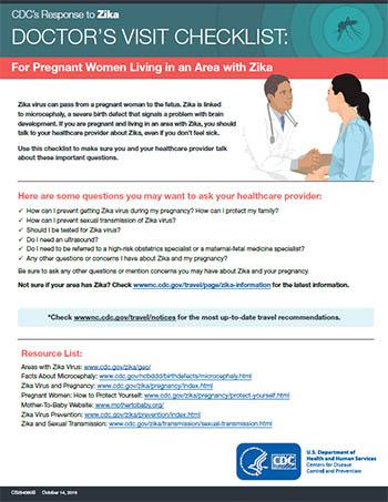 Lista de verificação para consulta médica: para mulheres grávidas que residem em áreas com zika - ficha técnica em miniatura