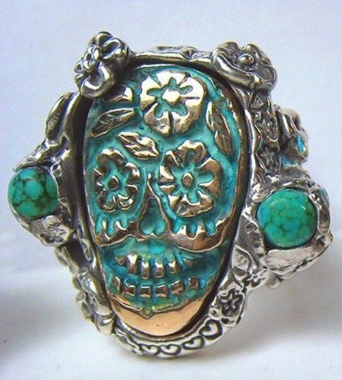 turquoise sugar skull