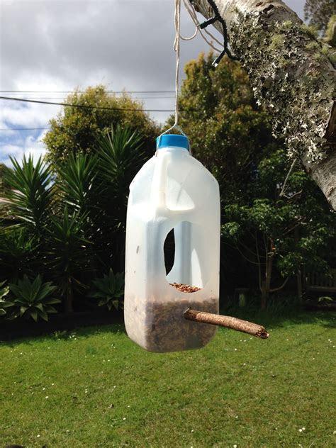 milk bottle bird feeder