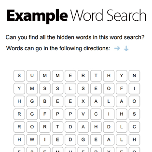 Create a word search in seconds with our FREE word search maker ...