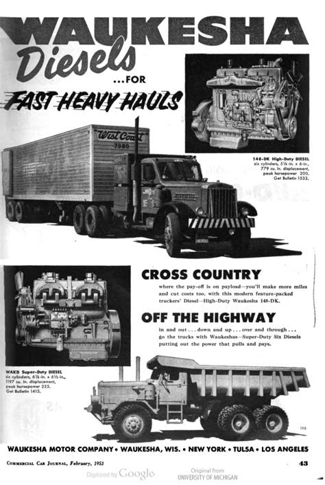 Waukesha Diesels For Fast Heavy Hauls | Print Ads