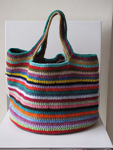 The Lucy bag pattern from Attic 24. I like the handles on this one. Great project to use up left over yarn