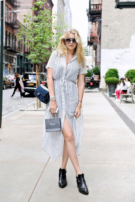 Le Fashion Blog -- Model-Off-Duty Street Style -- Gigi Hadid In Tort Sunglasses, A Striped Shirtdress, Chanel Bag And Ankle Boots -- Long Hair  photo Le-Fashion-Blog-Model-Off-Duty-Street-Style-Gigi-Hadid-Striped-Shirtdress-Tort-Sunglasses.jpg