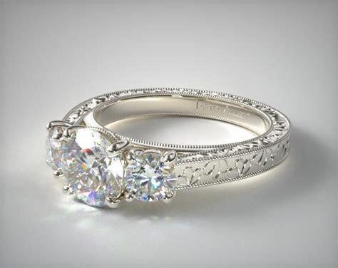 17063W14   Hand Engraved James Allen Three Stone Diamond