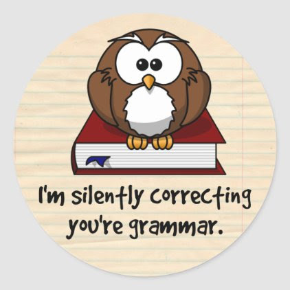 I'm Silently Correcting Your Grammar Wise Owl Classic Round Sticker