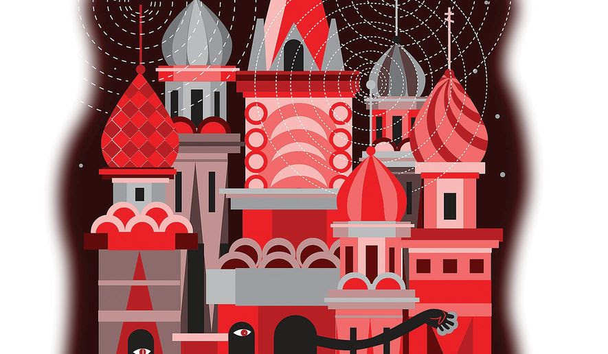 Illustration on Kremlin deception by Linas Garsys/The Washington Times