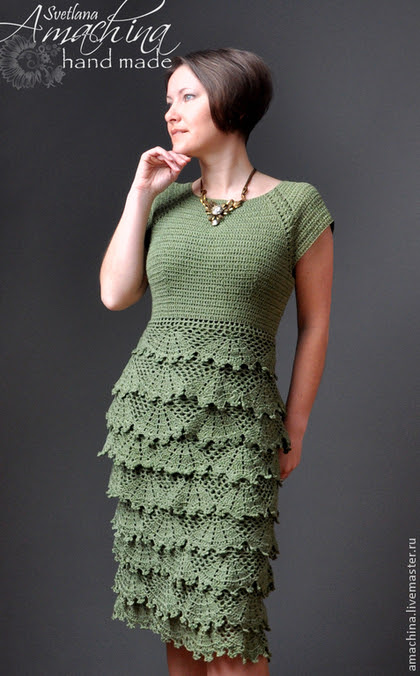 "Handmade dresses.  Fair of Masters - handmade.  Buy Dress ""Vintage"", author's work .... Handmade.  Khaki, dress with ruches"