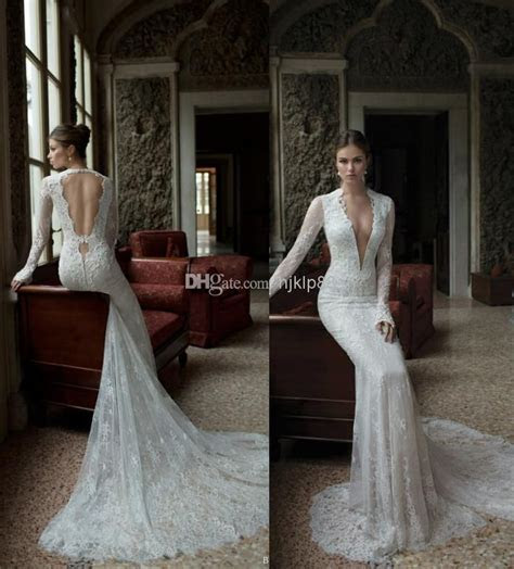 Discount Sexy Deep V Neck Lace Backless Mermaid Berta