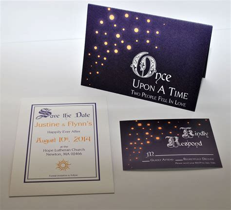 Tangled inspired wedding invitation set. www.catrinajoki