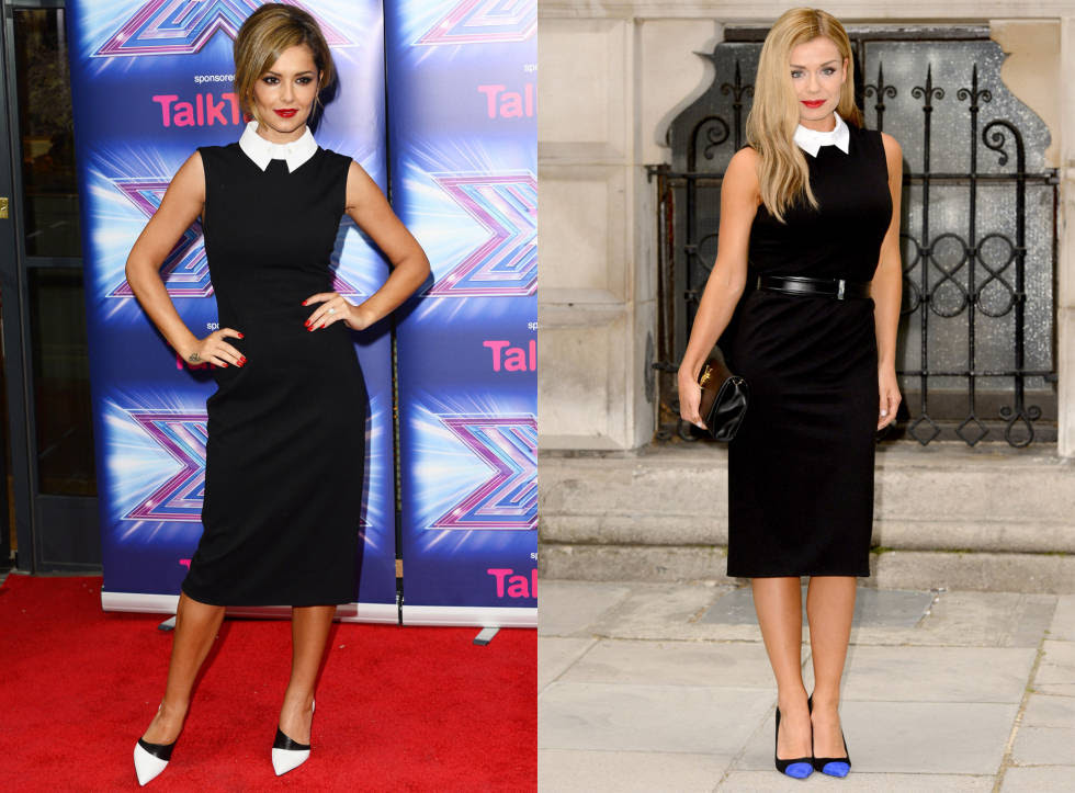 Cheryl and Katherine approached this monochrome dress with different attitudes - while Chez wore the palette from head-to-toe, Katherine made her look pop with a pair of blue shoes. There is one thing they both agreed on, though; that black and white is done best with ruby red lips.