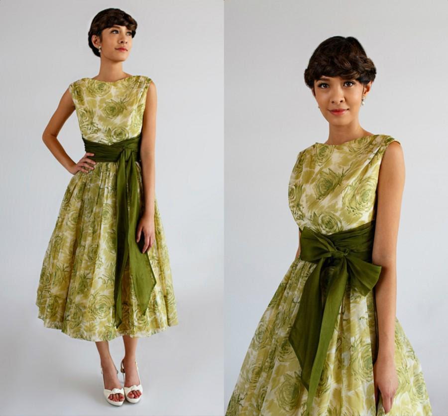 vintage 1950s bridesmaid dressjr theme green floral
