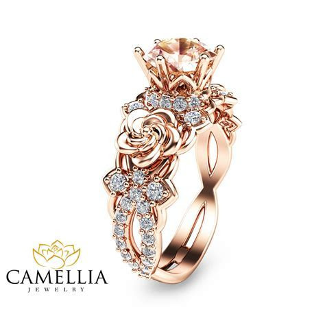 14K Rose Gold Morganite Engagement Ring Unique Morganite