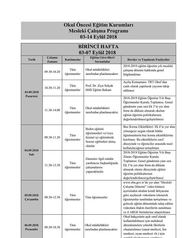 2018 Eylül Mesleki çalışma Programı