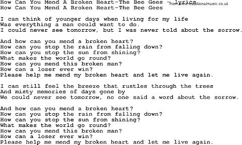 How Do U Mend A Broken Heart Lyrics