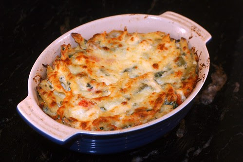 baked penne with chicken spinach and peppers