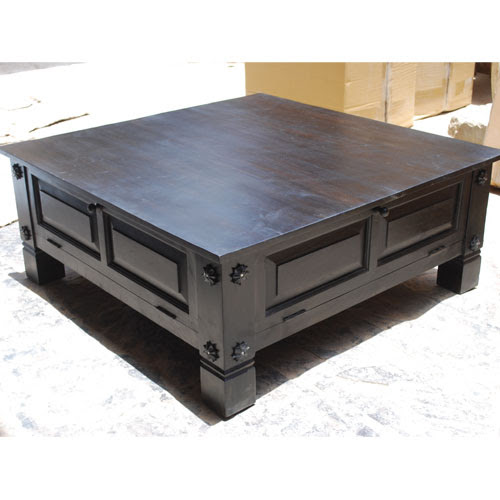 Black Square Solid Wood Storage Cocktail Coffee Table | eBay