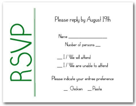 Green on White RSVP Cards, Reply Cards, Response Cards