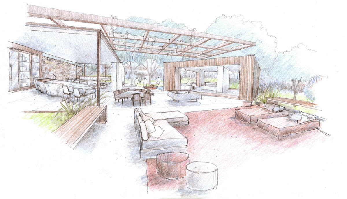 Outdoor Indoor House Sketchinterior Design Ideas