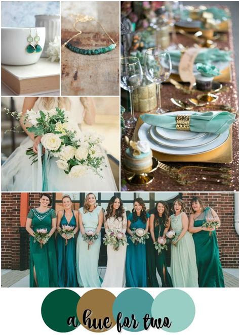 Emerald, Teal, Mint and Gold Wedding Color Scheme