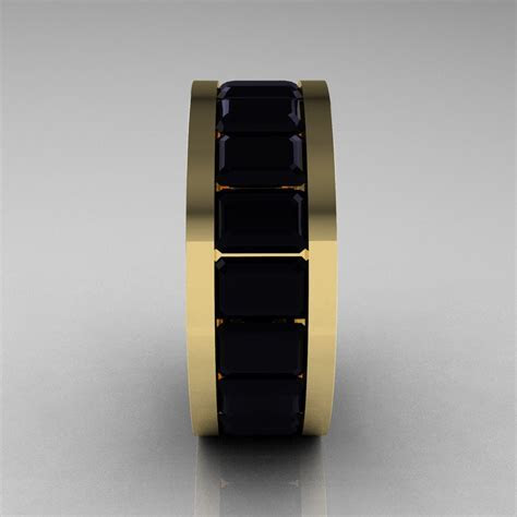 Mens Modern 14K Yellow Gold Black Diamond Channel Cluster