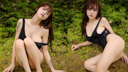 中國大陸實況主「夏美醬」外型甜美,「超兇」F罩杯爆乳搭修長美腿。(圖/翻攝自夏美醬微博) ID-944877