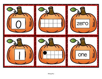 Pumpkin Number Matching Cards 0-10 FREE