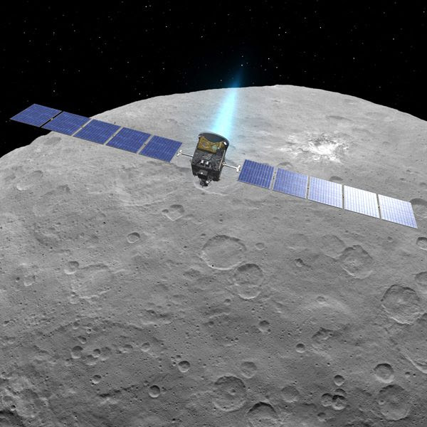 A composite image showing NASA's Dawn spacecraft orbiting the dwarf planet Ceres.