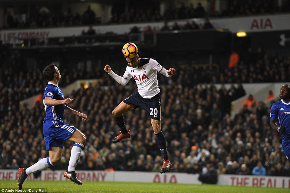 Alli meets Eriksen's perfect cross with a superb placed header which opened the scoring for Spurs in north London