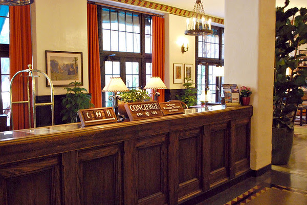 Concierge Desk at the Ahwahnee Hotel.
