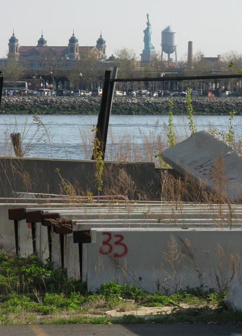 the Statue of Liberty and cement slabs, Jersey City, NJ