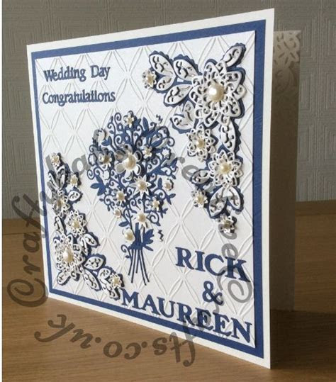 Wedding card made using Tattered Lace chains embossing