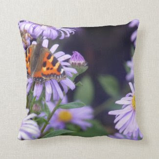 Beautiful Butterfly On Flowers Cushion Throw Pillows
