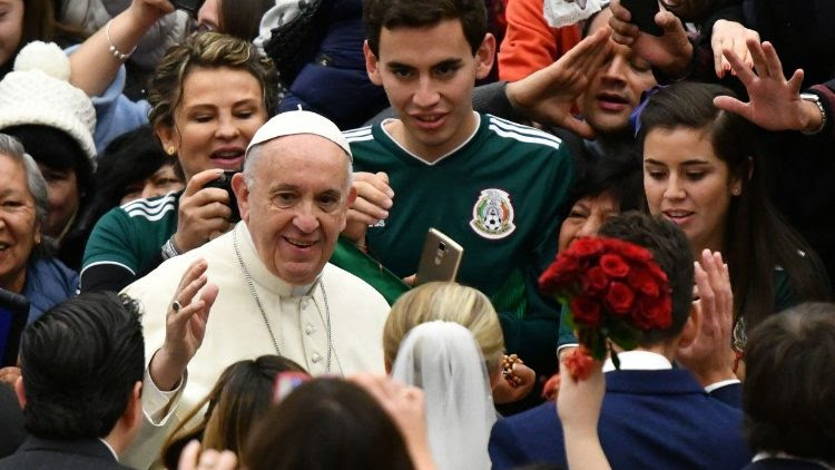 Pope Francis greets pilgrims and visitors at his General Audince in the Paul VI Hall