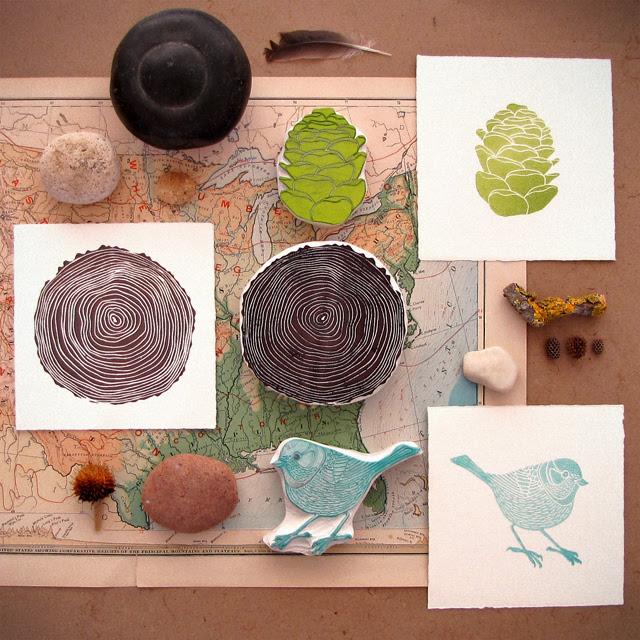 Woodland block print set