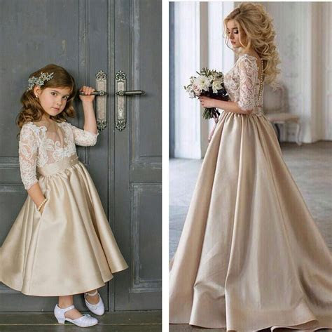Cute Champagne Satin Flower Girl Dress 2018 Lace Appliques