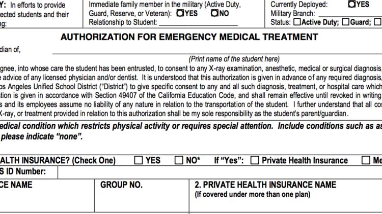 LAUSD emergency form