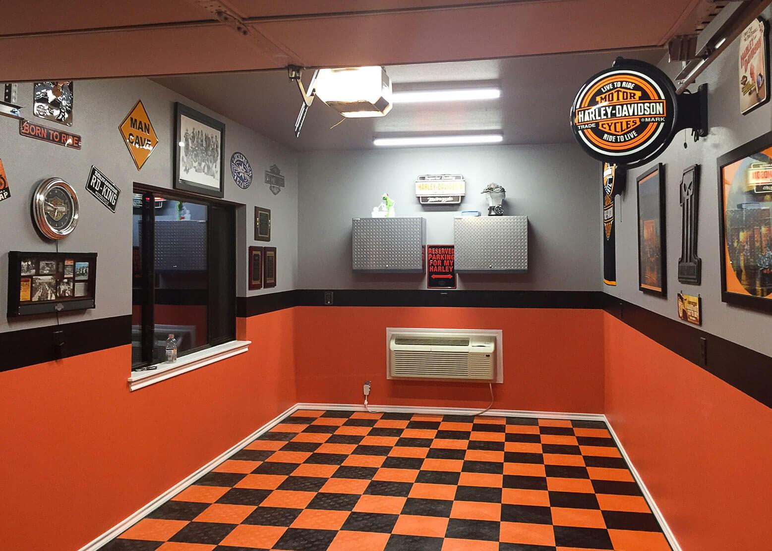 small harley themed garage