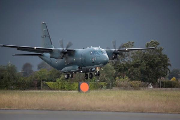 Desembarco de la primera C-27J Spartan RAAF en la Base Aérea de Richmond. (Foto: Ministerio de Defensa Australia)