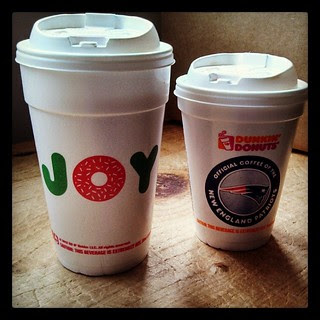 Good Morning! His & hers #coffee I think I've got the better cup! #dunkins #Patriots