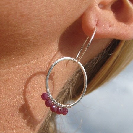 Ruby and Fine Siver Hammered And Fused Hoop Earrings