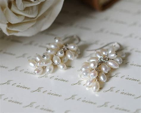 freshwater white rice pearl earrings by victoria jill