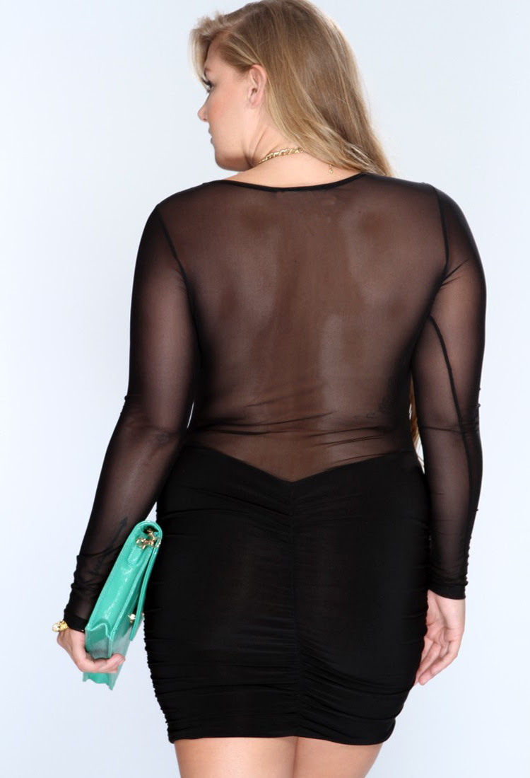 women sexy slim shift long sleeve plus size lace dress xl