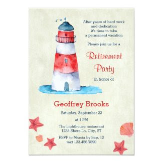 Lighthouse Nautical Retirement Party Invitation