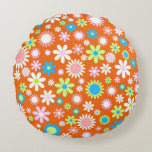 Orange Flower Power Round Pillow
