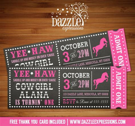Printable Cowgirl Chalkboard Ticket Birthday Invitation